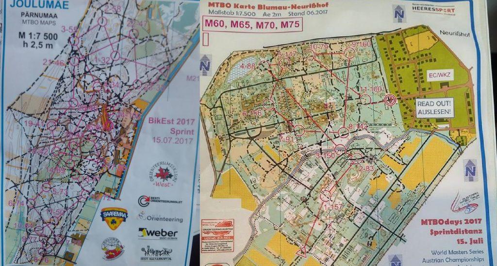 Sprintų koliažas. Iš kairės: Estijos sprinto žemėlapis ir Austrijos sprinto žemėlapis