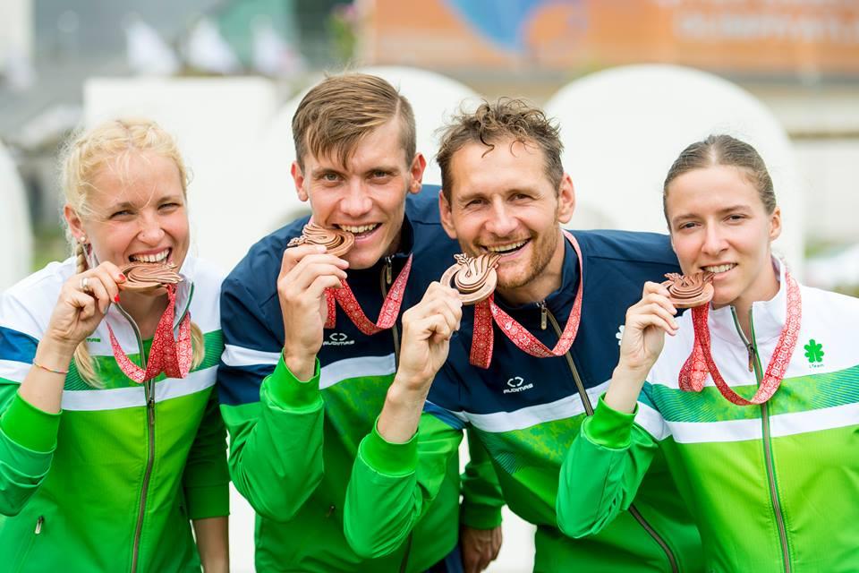 Adrija Atgalainė, Mantas Volungevičius, Tomas Kuzminskis ir Gedvilė Diržiūtė / Samsune iškovoti bronzos medaliai mišrioje sprinto estafetės rungtyje